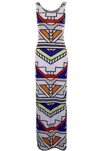 FANTASIA Damen Sommerkleid Neon Gestreift Azteken Aufdruck Lang Maxi EU 36-42 Weiß Azteken