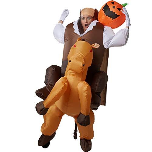 dressforfun 302356 - Aufblasbares Unisex Kostüm kopfloser Reiter mit Kürbisgesicht auf der Schulter