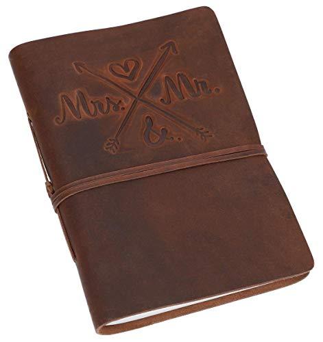 "Gusti Notizbuch Leder -""Wedding"" Tagebuch Bullet Journal Skizzenbuch Gästebuch Hochzeit blanko klassisch Leder DIN A5 braun Lederband"