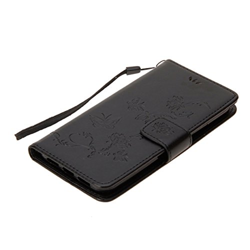 iPhone X Hülle iPhone X Case WYSTORE Geprägter Lotus-Schmetterling PU Leder Bookstyle HandyHülle Tasche Flip Wallet Case Anti-Scratch Shell Cash Pouch ID Card Slot Magnetverschluss Etui Soft Silikon B schwarz