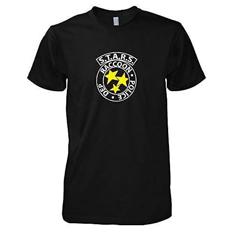 TEXLAB - RE: S.T.A.R.S. Logo - Herren T-Shirt, Größe L, schwarz (Kostüm 2 Resident Evil)