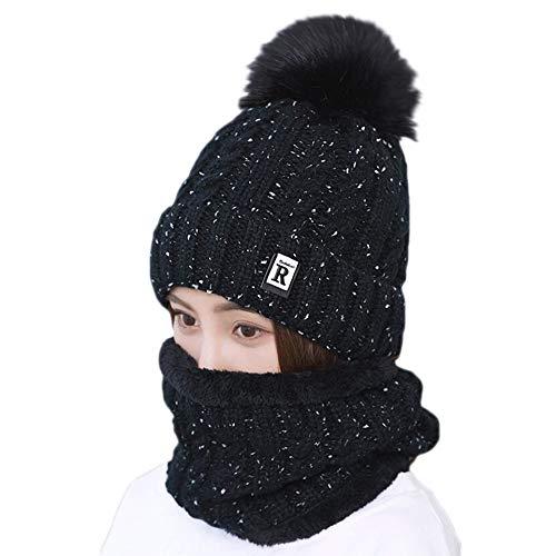 Preisvergleich Produktbild Amphia - 2 Stücke Frauen Winter Warm Gestrickte Venonat Beanie Mütze + Schal Warmhalten Set, Plus SAMT warme Haare Ball Hut Lätzchen zweiteilig R(Black)