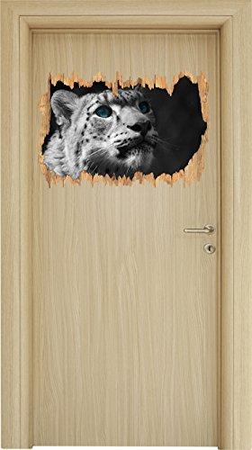 Anmutiger Schneeleopard Blaue Augen schwarz/weiß Holzdurchbruch im 3D-Look , Wand- oder Türaufkleber Format: 62x42cm, Wandsticker, Wandtattoo, Wanddekoration (Himalaya-katze Schwarz)