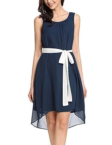 Meaneor Damen Ärmellos Elegant Chiffonkleid Sommerkleid Party Festlich Casual Kleid Knielang Rundhals Asymmetrisch mit Bindeband Schwarz WeiB Blau