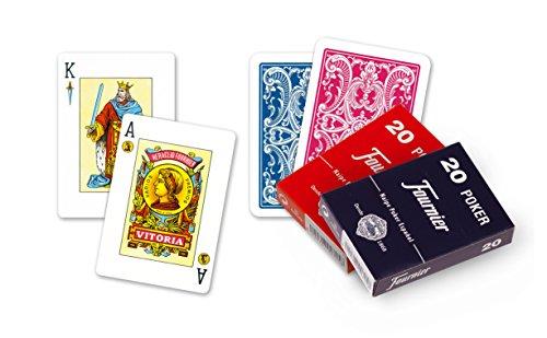 Fournier - Baraja poker español Nº 20, 55 cartas, surtido de colores