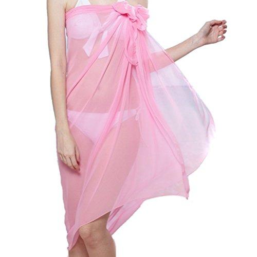 Ladies Chiffon Sarong Cover-up wickeln kaftan Sommer Strand Urlaub Kleid Bademode - rosa