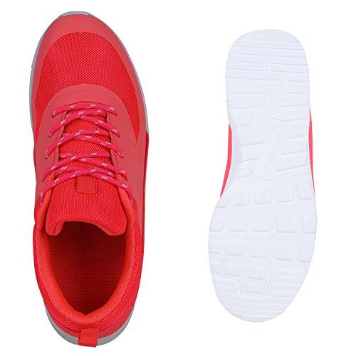 Damen Herren Unisex Sportschuhe Laufschuhe Runners Sneakers Schnürer Neonpink Weiss