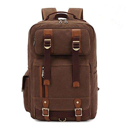 super-bab bakcpack Canvas Fashion Schule College Laptop Segeltuch Wandern Tasche coffee