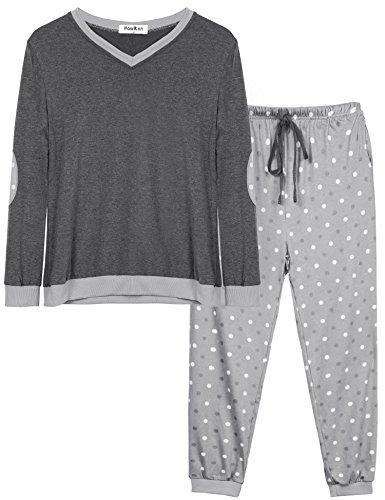 Hawiton Pijama Mujer Invierno Algodon Mangas Largas Pantalones Largo 2 Piezas, XL