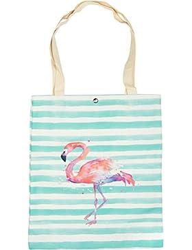 styleBREAKER borsa in tessuto a righe con stampa a fenicotteri, chiusura a clip, borsa da trasporto, borsa da...