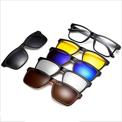 Y-WEIFENG Retro Style Sonnenbrillen mit 5-teiligen austauschbaren Gläsern für Männer Frauen unzerbrechlich TR90 Rahmen Clip-on UV-Schutz Sonnenbrille mit Magnetic