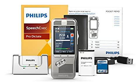 Philips DPM8000 Digitales Diktiergerät Aufnahmegerät, Bedienung per Schiebeschalter, 3D-Mikrofon für ausgez. Stereo-Tonaufnahmen, Farbdisplay, Edelstahlgehäuse, inkl. Diktiersoftware SpeechExec Pro 10