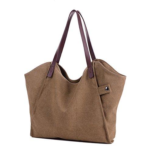 Butterme Sacchetti di spalla di modo delle donne casuale tela di canapa borsa di Tote sacchetto di acquisto di fine settimana Cachi