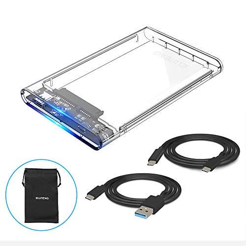 ELUTENG Hard Disk Box Esterno per 9.5mm & 7mm 2.5' SATA HDD and SSD, USB Type C 3.1(Gen 1)Supporto UASP Super Velocità Disco Rigido Esterno Enclosure con Due Cavo (USB C a C, USB C a A) (Trasparente)
