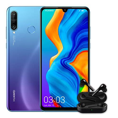 "Huawei P30 Lite + Huawei Free Buds -Smartphone de 6.15"" (WiFi, Kirin 710, RAM de 4 GB, memoria interna de 128 GB, cámara de 48 + 2 + 8 MP, Android 9), color azul"
