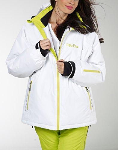 Ski-Jacke Snowboard-Jacken für Damen von Fifty Five - Glory - winddicht und wasserdicht mit FIVE-TEX Membrane für Outdoor-Bekleidung White/Lime