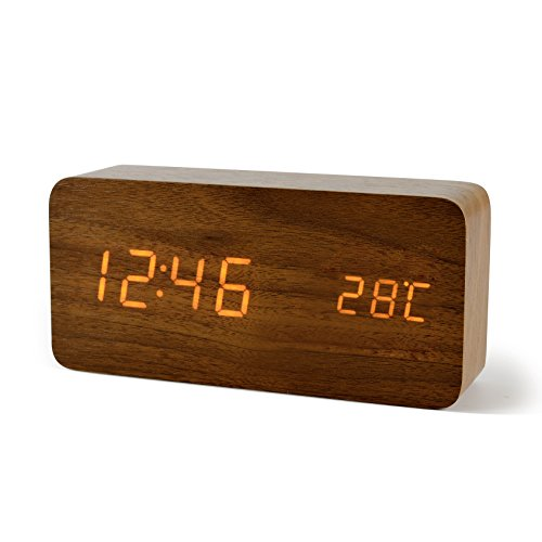 FIBISONIC LED Digital Wecker Holz Wecker Tischuhr Datum Temperaturanzeige Einstellbare Helligkeit Standuhr Braun Orange