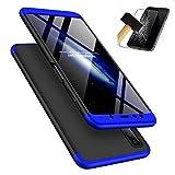 BCIT Samsung Galaxy A7 2018 Funda - Funda 360 Grados Integral Para Ambas Caras + Cristal Templado, Luxury 3 in 1 PC Hard Skin Carcasa Case Cover para Samsung Galaxy A7 2018 - Azul Negro