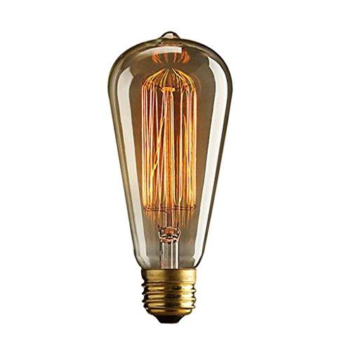 JIAHONG Vintage Edison Filament E27 Birne - Standard Base - Eichhörnchen Cage-40W 220V (Edison Lamp Base)