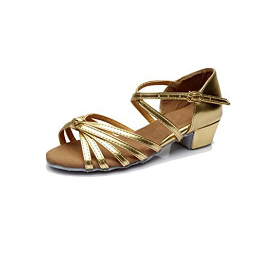 DIKE Brand Women's/Kids' Dance Shoes Latin/Ballroom/Salsa Sandals Satin Knot Buckle Low Heel Gold