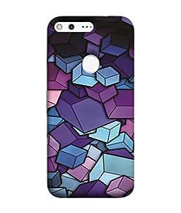 PrintVisa Square Rectangle Design 3D Hard Polycarbonate Designer Back Case Cover for Google Pixel