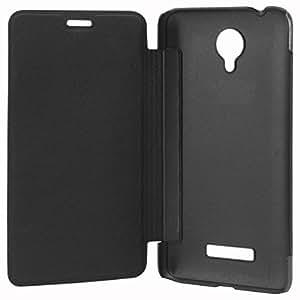 SDO Classy Genuine Style Flip Flap Case Cover for Micromax Canvas Spark Q380 - Black