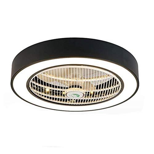 Moderner Deckenventilator mit Beleuchtung, Deckenleuchte LED Dimmable 3 Farbwarme Deckenleuchte Schwarzes Metall und Acryl-rundes Design for Schlafzimmer-Esszimmer-Wohnzimmer-Dekorations-Lampe~ 60 c -
