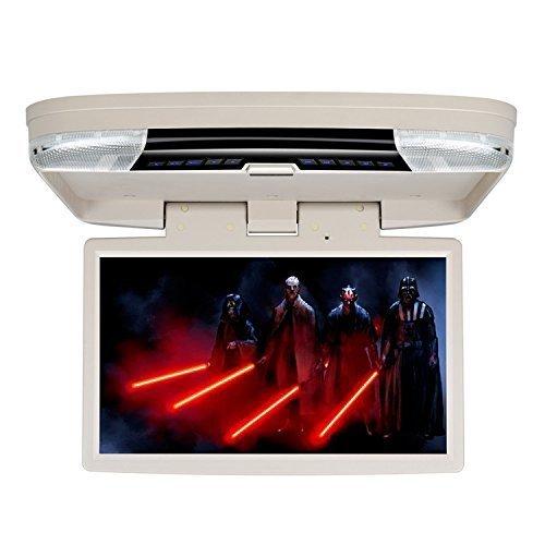 Roverone 15.6 Zoll Overhead Auto DVD-Player mit 1080p HDMI SD USB IR FM Lautsprecher Spiel drehbar Bildschirm Flip Down Deckenmonitor Beige Farbe -