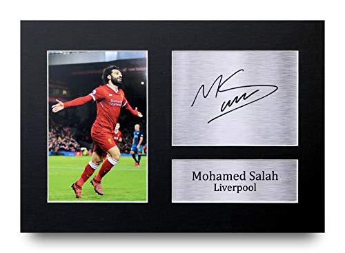 HWC Trading - Fotografía impresa para regalo tamaño A4 con autógrafo de Mohamed Mo Salah del Liverpool