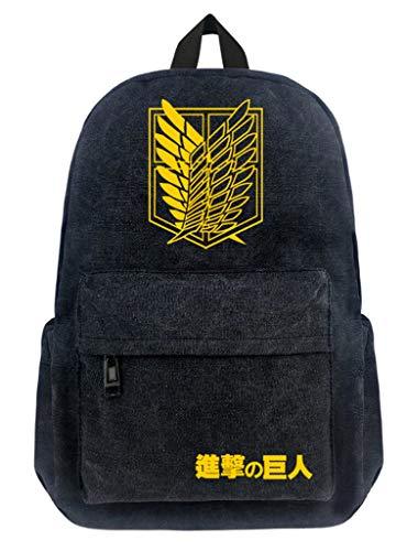 Cosstars Attack on Titan Anime Cosplay Backpack Canvas Schultasche Rucksack Büchertasche Daypack /1 (Mikasa Figur)