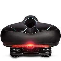 Fvino Sillín de Bicicleta, Ancho Cómodo Acolchado de Espuma de Memoria con los Resortes MTB Respirable Bike Seat Saddle LED de Seguridad Impermeable (Negro)