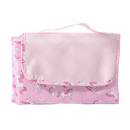 Zhixing Faltbar Drucken Waschbare wärmeisoliert wasserdicht mit Tragegriff Stranddecke Sandfrei Outdoor sandabweisende Tragbare Campingdecke tolle Draussen Decken groß Picknickdecke,Pink,145x145cm