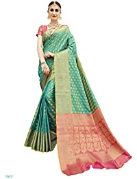 EthnicJunction Booti Zari Butta Designer Banarasi Silk Saree With Zari Thread Work Unstitched Blouse Piece(EJ1178... - B078MQF29X