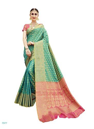 EthnicJunction Booti Zari Butta Designer Banarasi Silk Saree With Zari Thread Work...