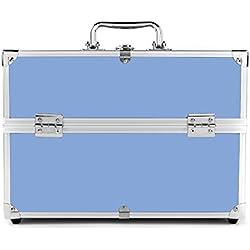 MCTECH® Estuche cosmético Beauty Case Alu SuitCase Estuche Maletín para maquillaje Estuche para cosméticos, 32 * 21 * 26 cm (azul)