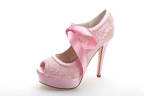 Scarpe con tacco alto in pelle Sandali Scarpe con tacco alto Pesce in pizzo Pink