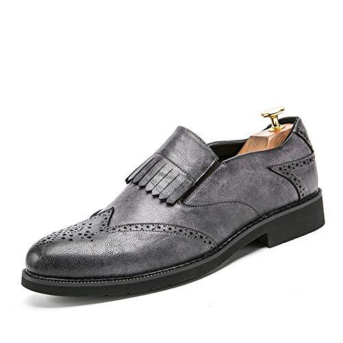 Jingkeke Herren Formale Business Oxford Retro Klassische Britische Art Fringe Brogue Dress Schuhe auffällig (Color : Grau, Größe : 40 EU) -