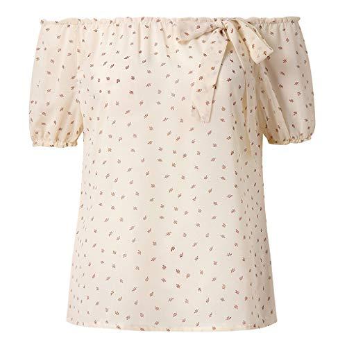 Bringbring Damen Bluse Gedruckte Schulterfrei Bogen Kurzarm Chiffon Damenblusen Tunika Blusenshirt Hemd Elegant Oberteile Tops T-Shirt -