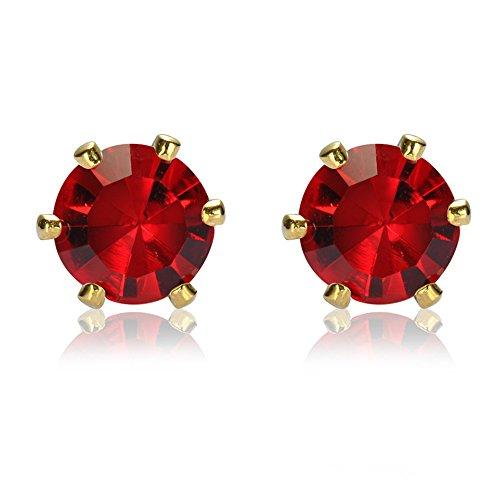 RIVA Gestochen Ohrstecker Ohrringe mit Rundschliff Edelstein Zirkonia CZ [Rot Rubin] in 18K Gelbgold Vergoldet, Einfache Moderne Eleganz