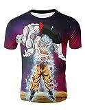 Maglietta Uomo Bambino Dragon Ball T-Shirt con Stampa 3D Camicia a Manica Corta Cartone Animato Maglietta Estate Tees Top Maglia Casuale Vestiti Camicetta (TX-QLZ-0757, S)