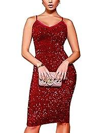 best website bb899 8f794 Amazon.it: Tubino Paillettes - Rosso / Donna: Abbigliamento