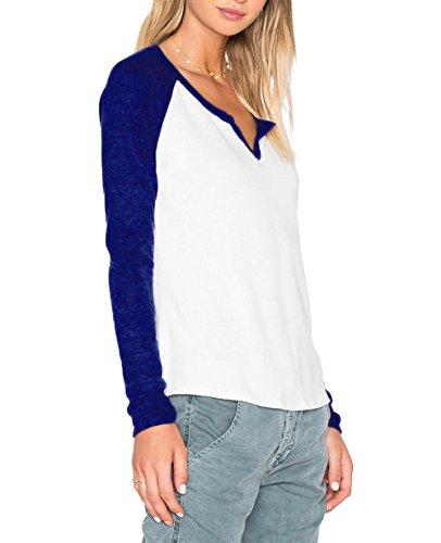 ZJCTUO Damen Langarm Rundhalsausschnitt Kontrast Shirt T-Shirt Blusen Top Violettblau