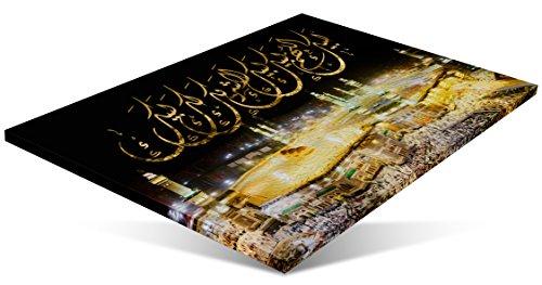 120 x 80 cm Mekka Bild Kaaba bei Nacht Masjid Alharam islamische Leinwand Foto Leinwandbilder Islambild