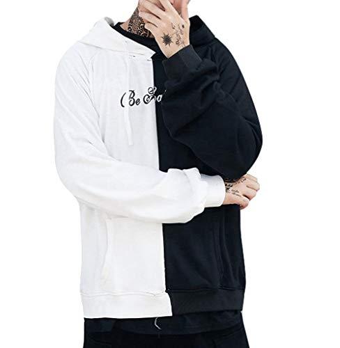 Tomatoa Männer Pullover Sweatshirt Mantel Pullover Outwear Übergröße Hoodie Kapuzen Sweatshirt Top Patchwork Mantel Lässig Herren Strickpullover - Hoodie Jacke Mantel