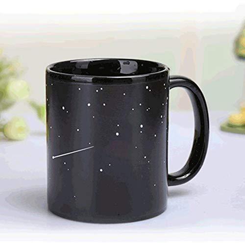EPAWSWENLONG Keramiktassen Farbwechsel Becher Milch Kaffeetassen Freunde Geschenke Student Frühstück Tasse Stern Sonnensystem Tassen, Bild