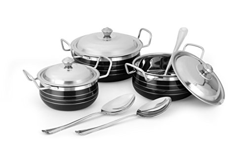 Classic Essentials h-09-black Enamle Stainless Steel Casserole Set, 6-Pieces, Black