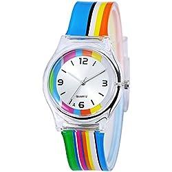 Zeiger Kinderuhr Lernuhr Mädchenuhr Regenbogen Kinder Uhr Jungen Armbanduhr KW010