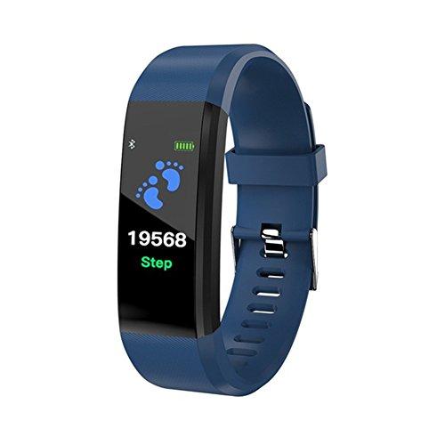 STRUGGGE Fitness Tracker, Aktivitätstracker mit Pulsmesser, Wasserdichtes Smart-Fitnessband mit Anruf-Erinnerung, Schrittzähler für Kinder, Damen und Herren, blau, 1Pc