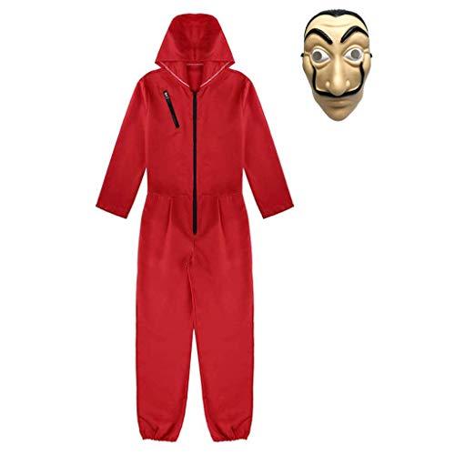 Amycute 2pcs Kit de Disfraz de Ladrón, Salvador Dalí Traje de Cosplay para Carnaval Navidad Halloween Ropa y Máscara