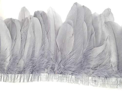 ERGEOB Ente Feder Stoffstreifen 2 Meter - Ideen für die Bekleidung, Kostüme, Hüte. grau